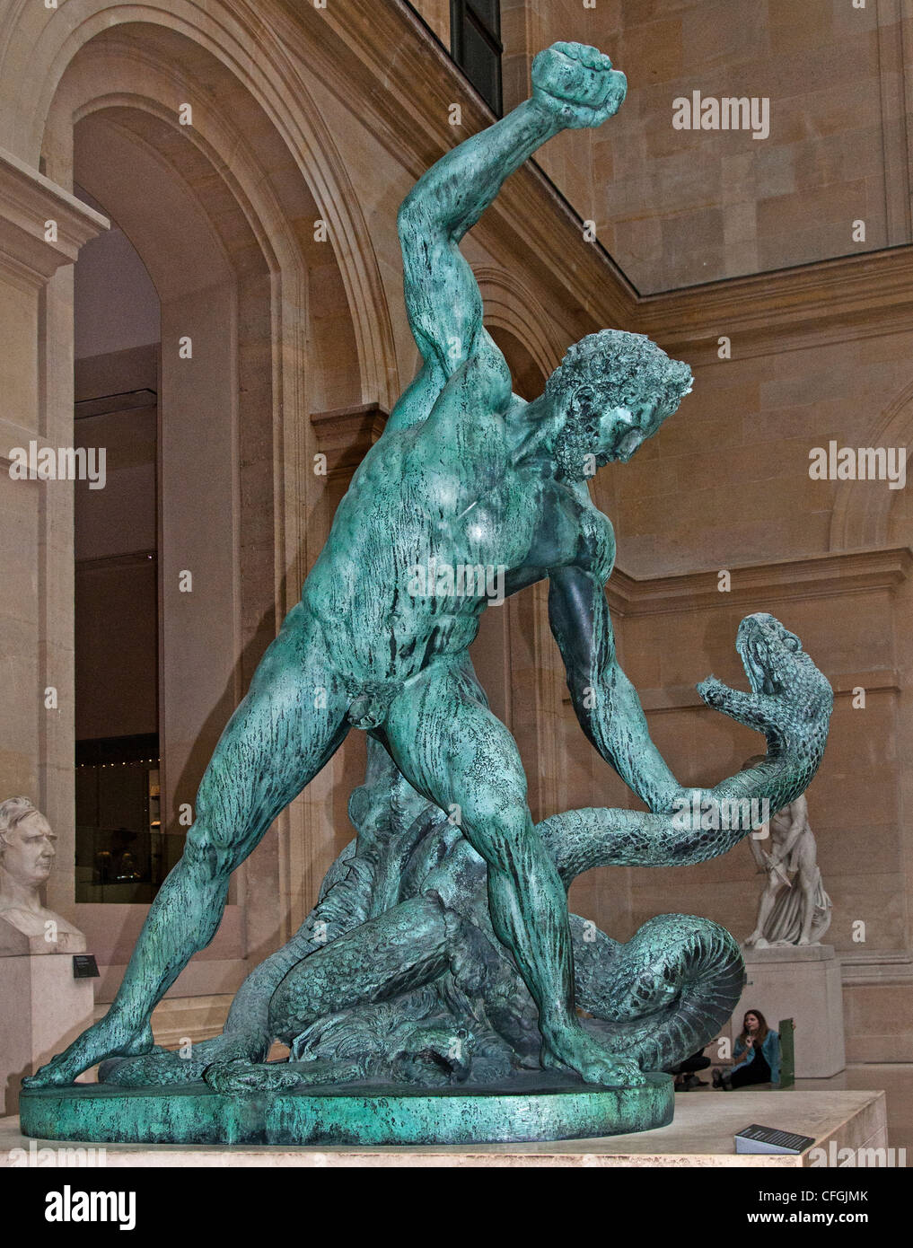 Hercules fighting Acheloos transformed into a snake Bronze 1824  Francois Joseph Bosio  France French - Stock Image