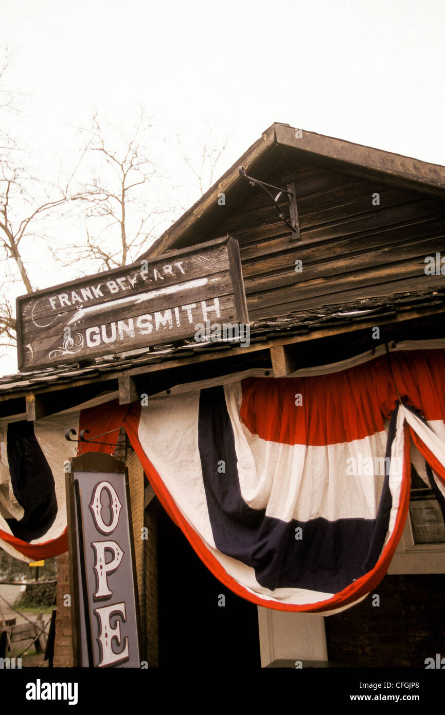 Gunsmith store in James Marshall Discovery State Historic Park in Coloma; Gold Country, Northern California US - Stock Image