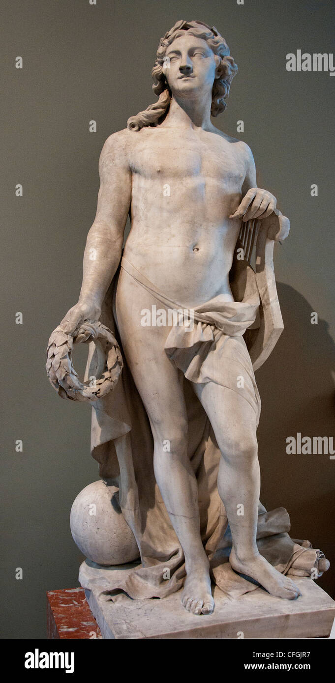 Apollon ou le Beaux Arts- Apollo or the Fine Arts 1779 by Louis Philippe Mouchy Louvre France French - Stock Image