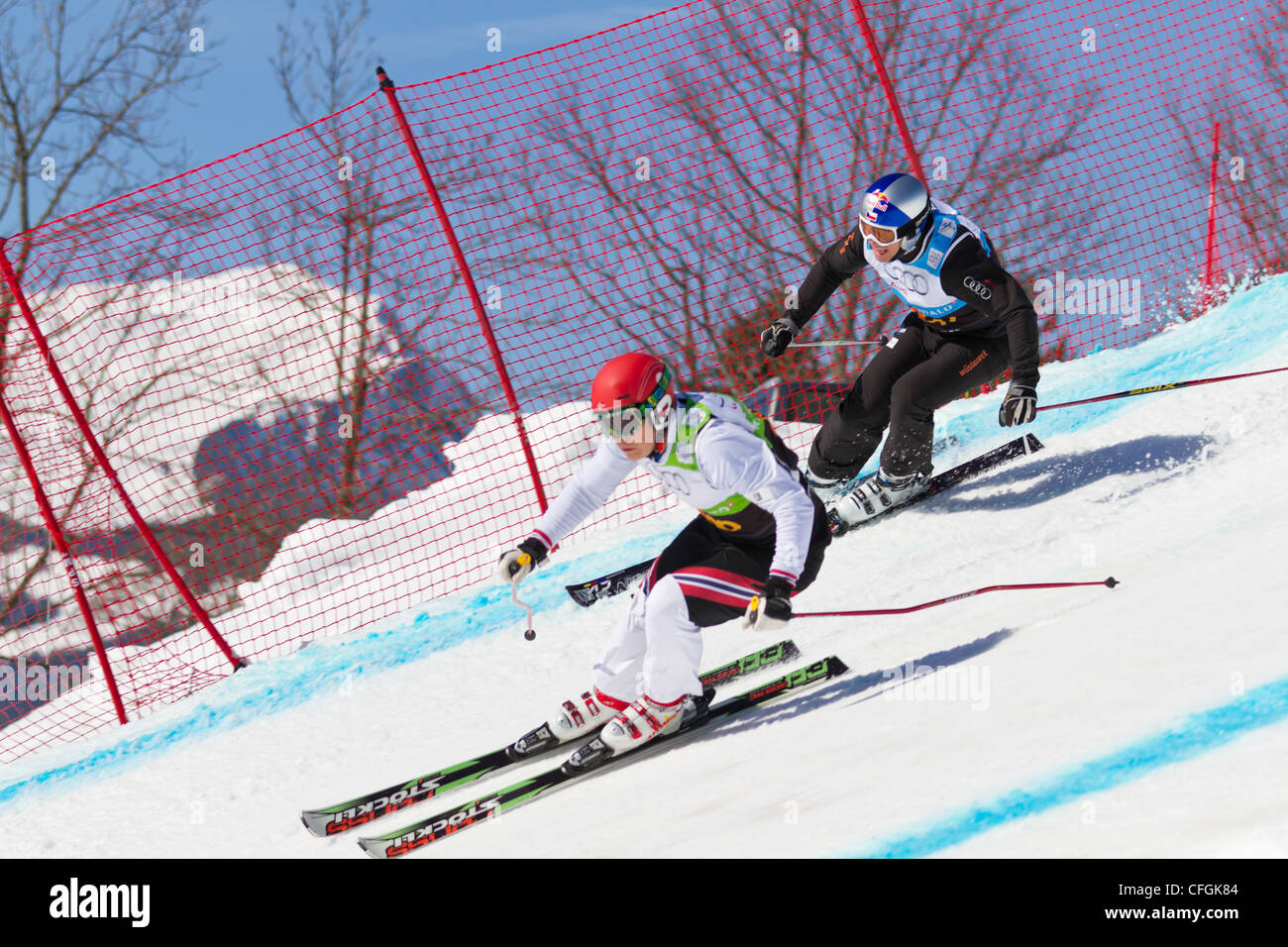 Athletes fight for lead position at FIS Skicross Worldcup March 10, 2012 in Grindelwald, Switzerland. Racer Nick - Stock Image