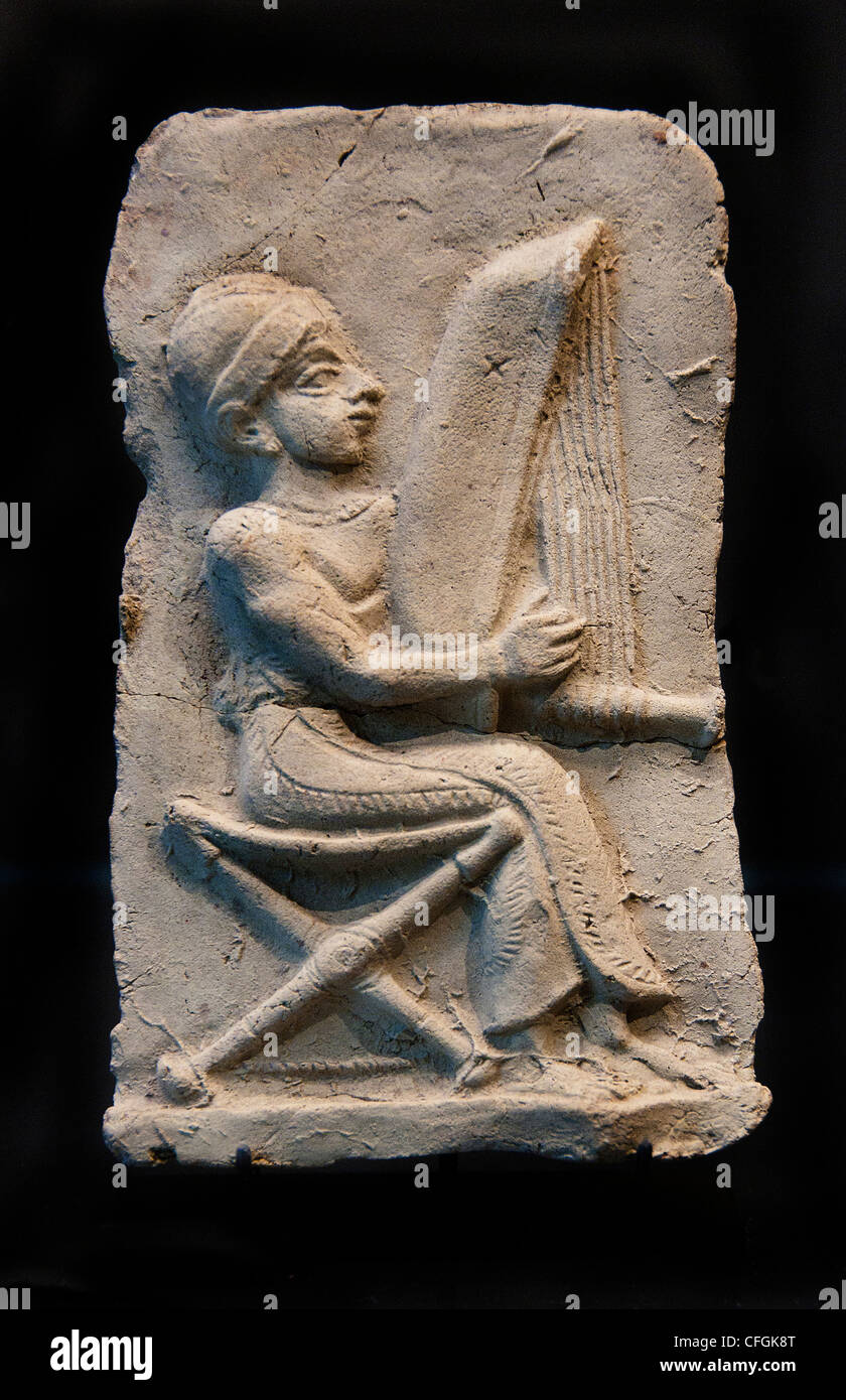 harpists Eshnunna Mesopotamia half 2 Second millennium 1500 BC Iraq - Stock Image