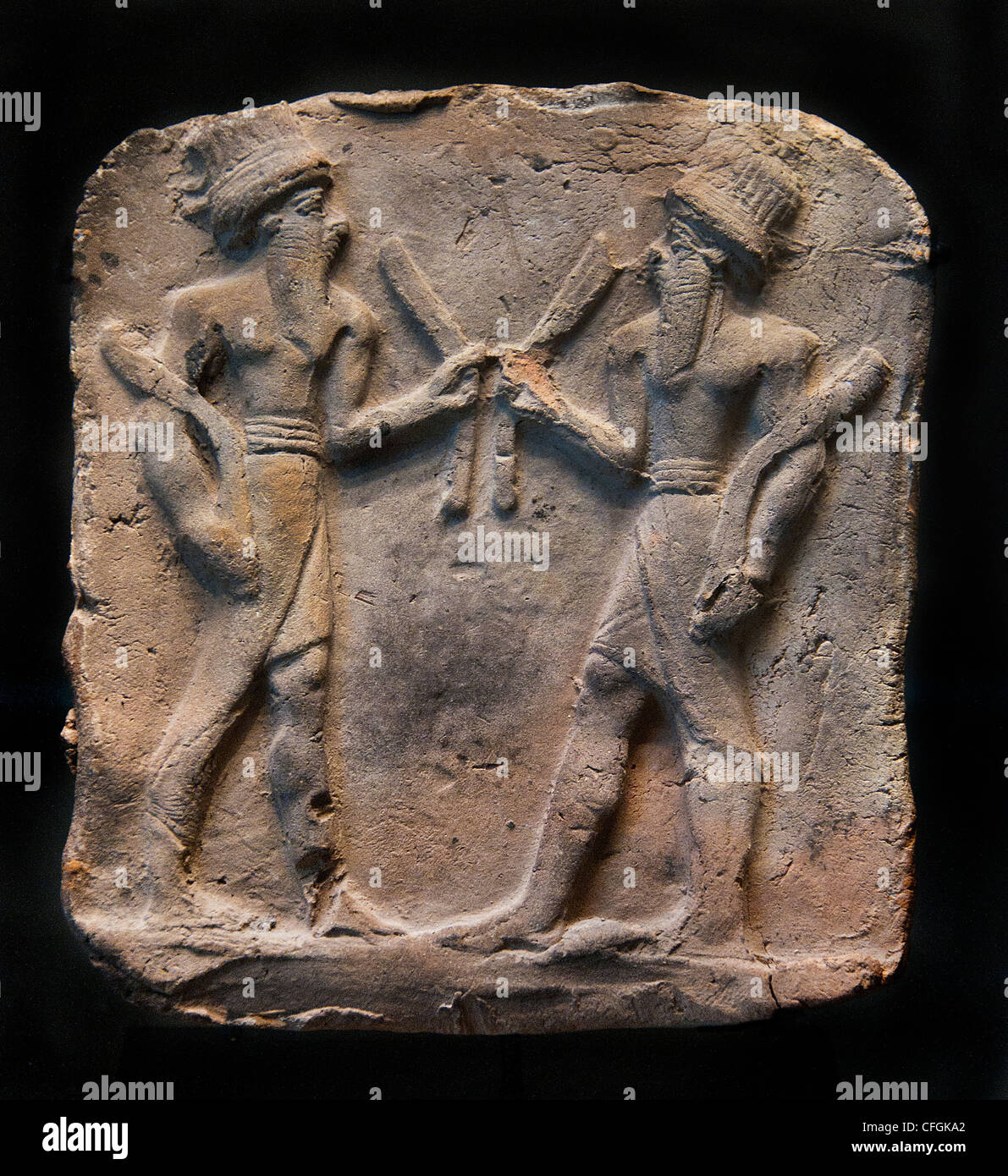 Two dancers with clappers Eshnunna  Mesopotamia half 2 Second millennium 1500 BC Iraq - Stock Image