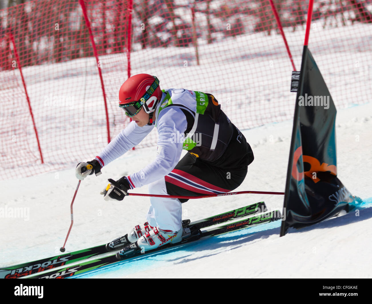 Athletes fight for lead position at FIS Skicross Worldcup March 10, 2012 in Grindelwald, Switzerland. Racer Nick Stock Photo