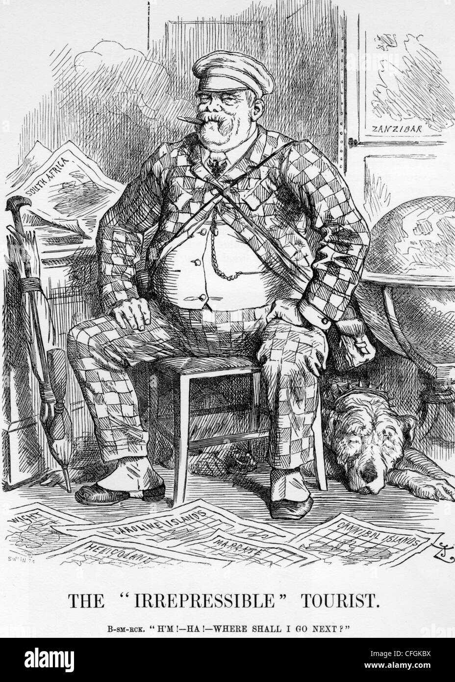 OTTO von BISMARCK (1815-1898) The German Chancellor's colonial ambitions are satirised in Punch magazine on - Stock Image
