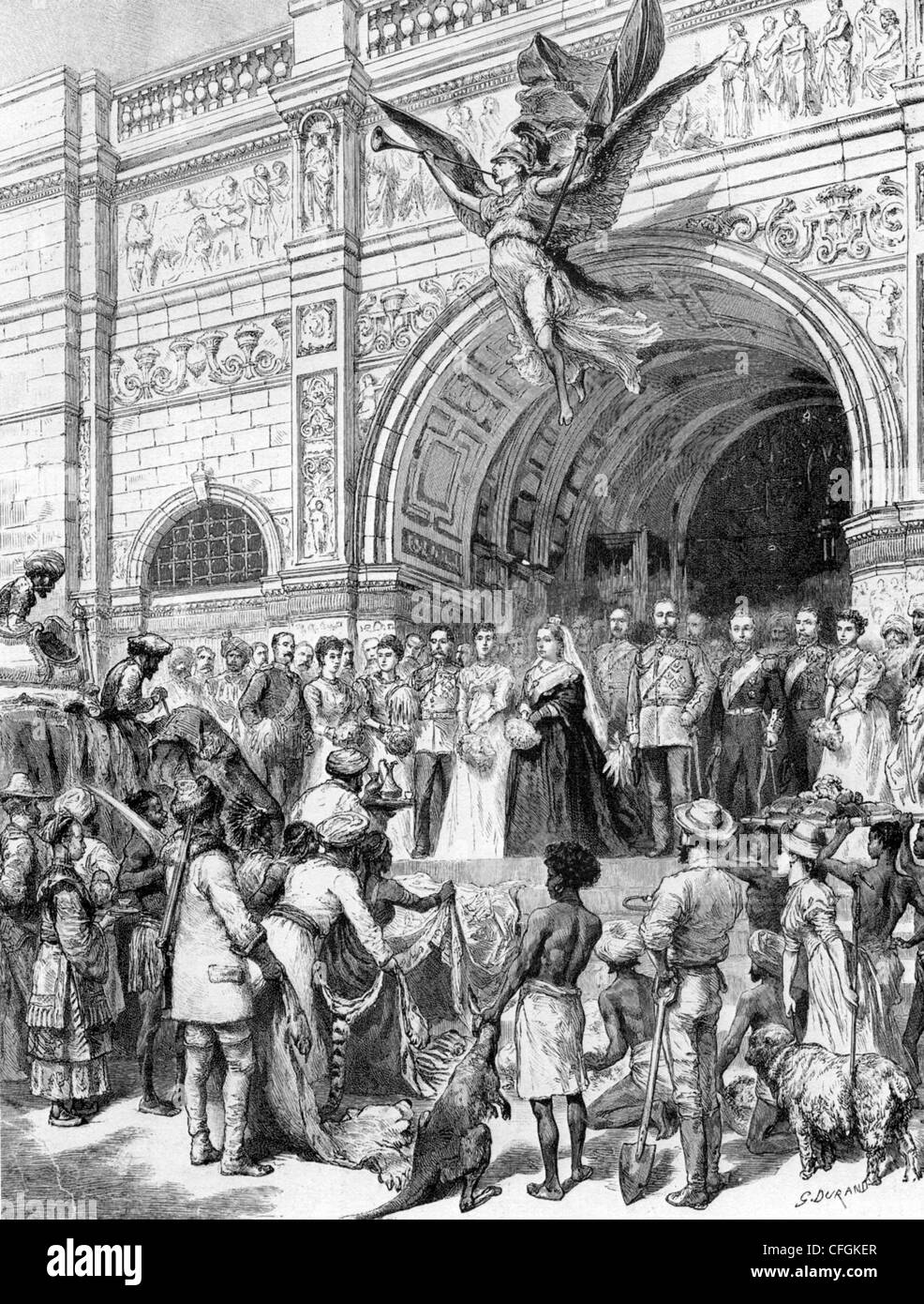 QUEEN VICTORIA opens the Imperial Institute on Exhibition Road, London, in 1893 - Stock Image