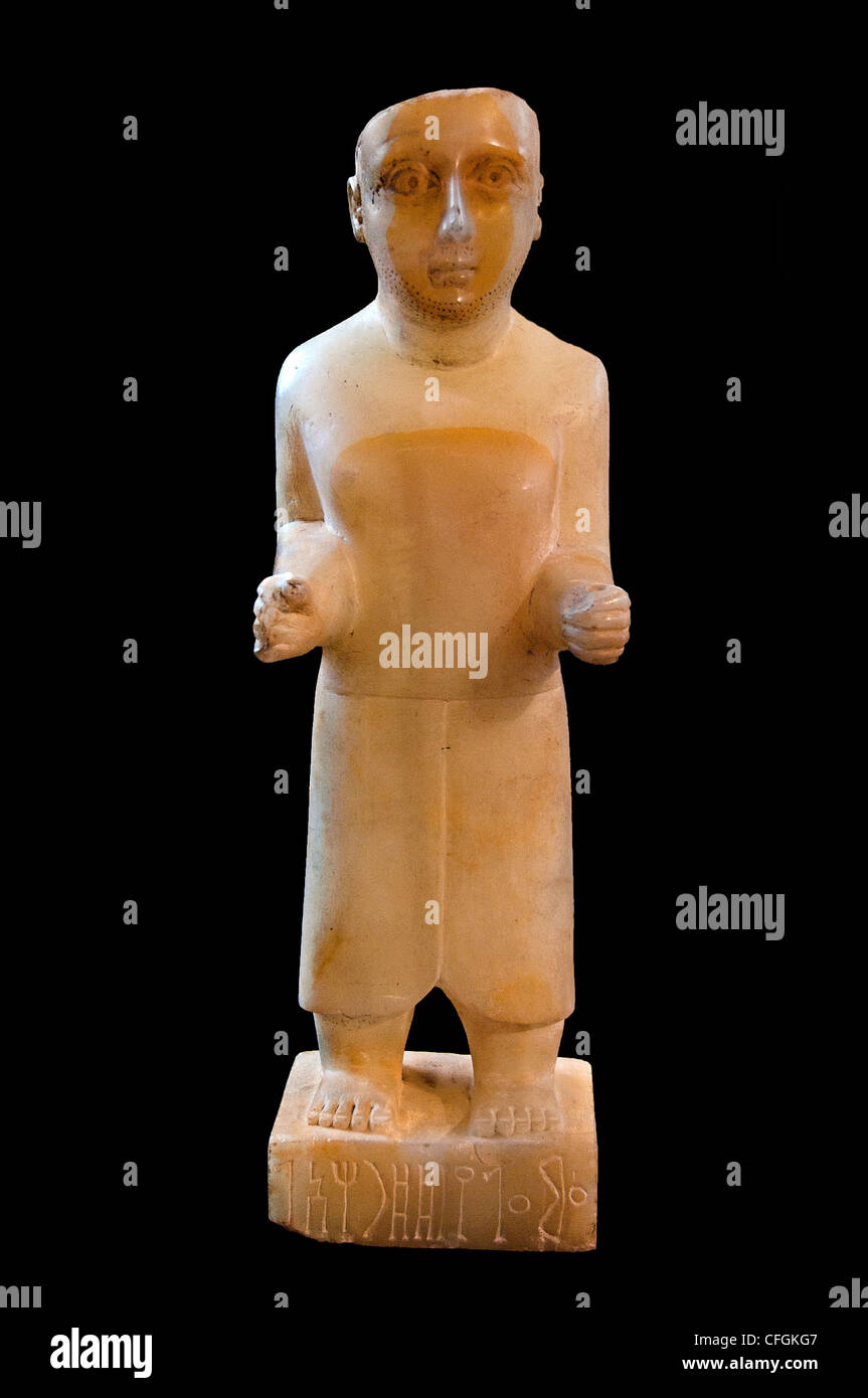 Qatabanian funerary statuette of 'Amma'alay of the Dharah'il clan Alabaster 1st century BC Hayd ibn - Stock Image