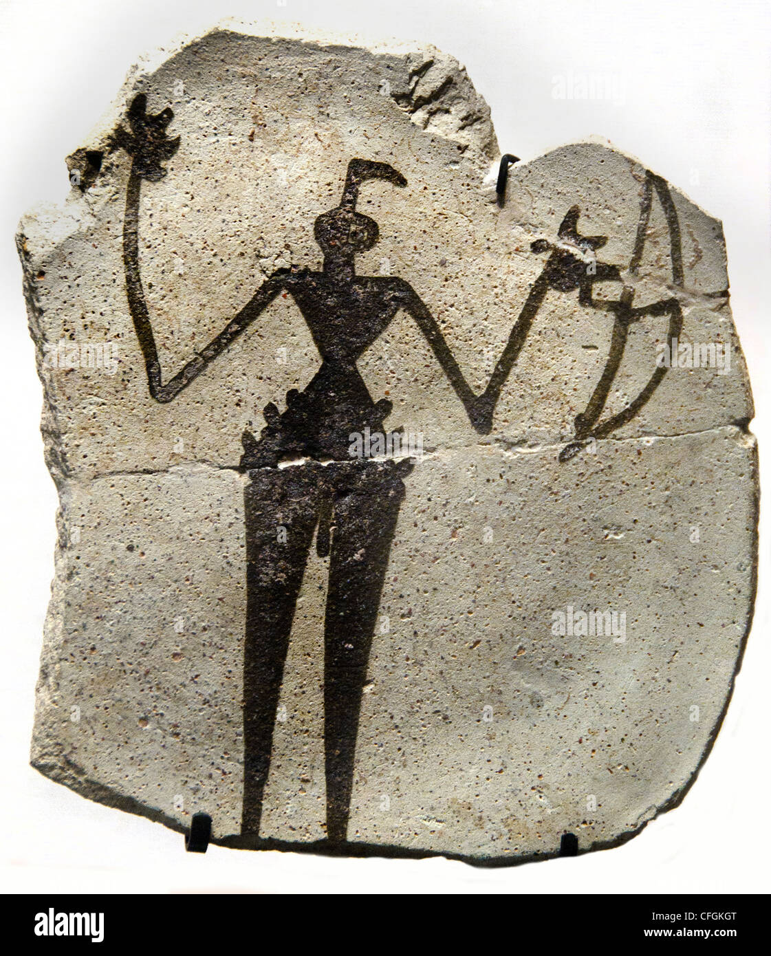 Painting Fresco of a hunter equipped with a bow  5 illennium  Tepe Djowi  The ghassoulien Chalcolithic of Palestine - Stock Image