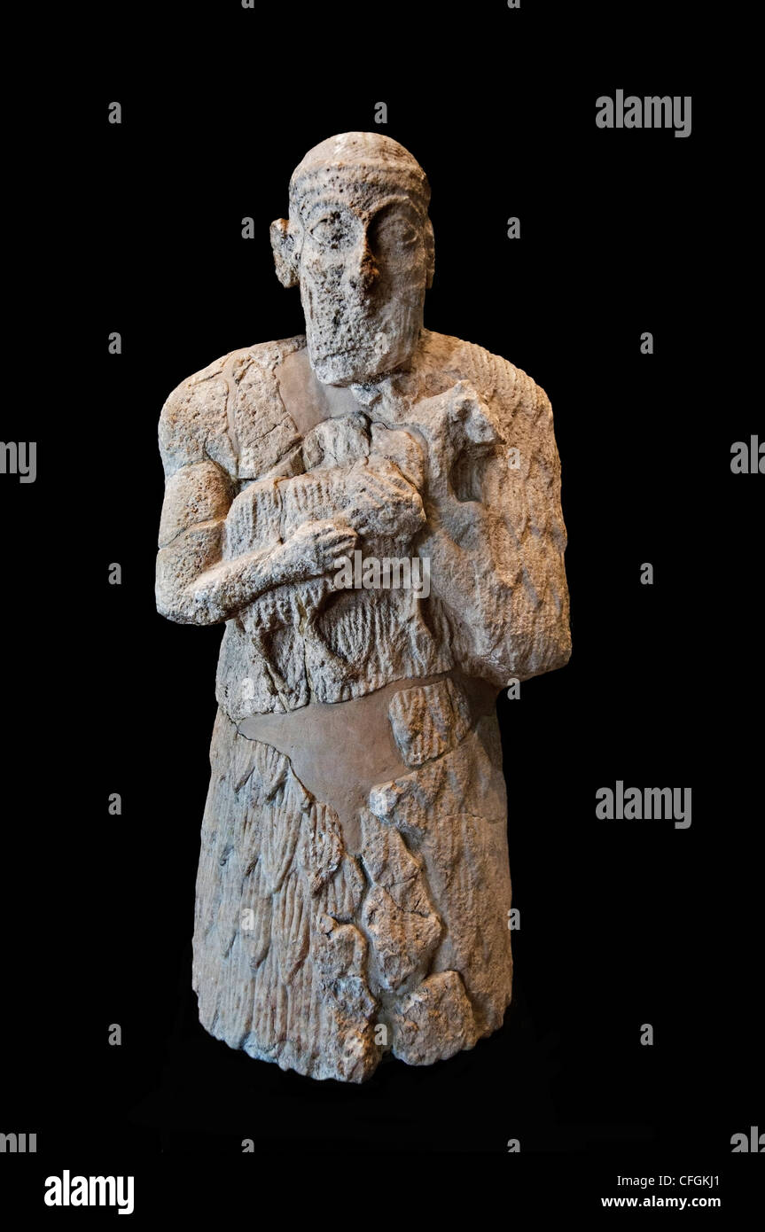 Man Sheep Tell of Acropolis vase cache Susa 2450 BC Mesopotamia Persia - Stock Image