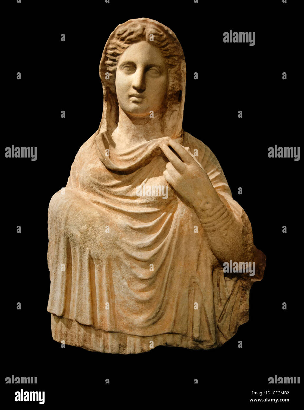 draped woman funerary bust of the late classical period 349  BC Cyrene Greek city Libya - Stock Image