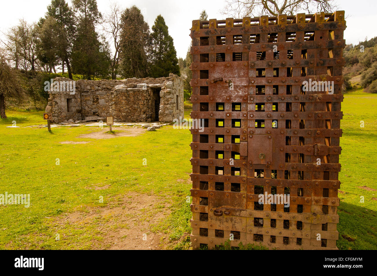 old jail in Marshall Gold Discovery State Park site of first gold discovery in Coloma Gold Rush country California - Stock Image