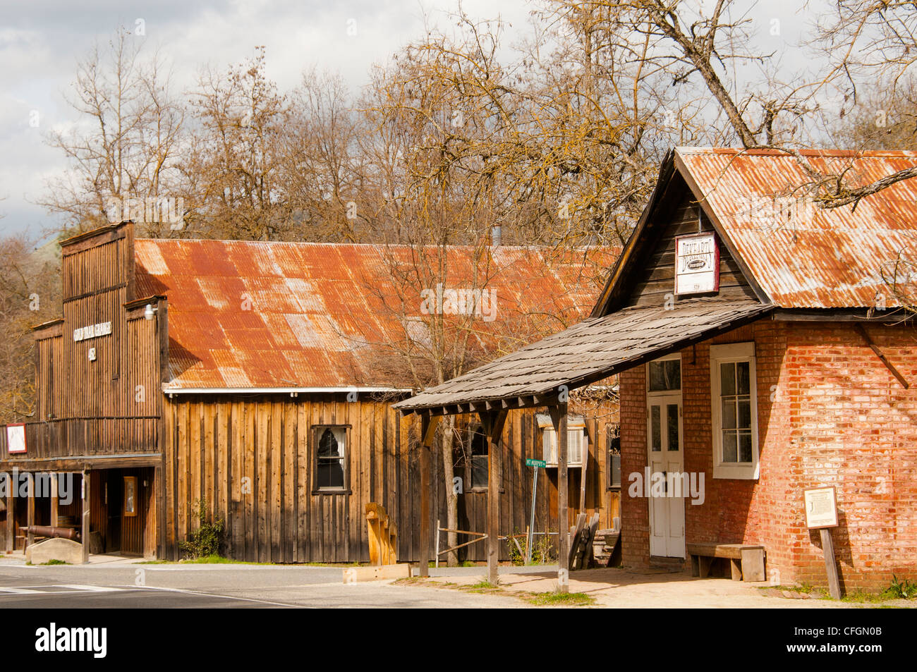 street scene in Marshall Discovery State Park where gold was first found in California in Coloma, Gold Country, - Stock Image