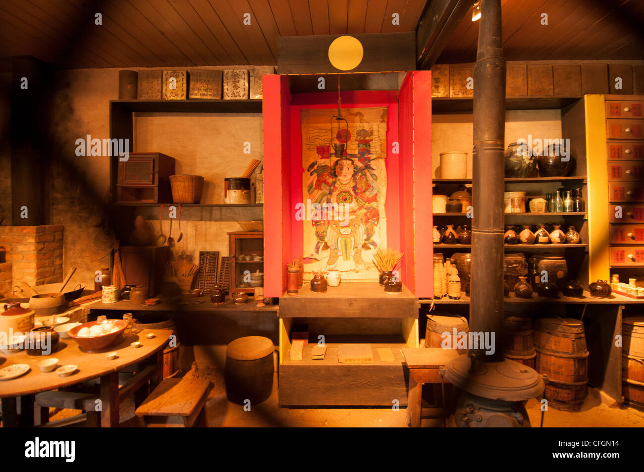 Interior of historic Chinese general store in Marshall Gold Discovery State Park in Coloma Gold Country Northern - Stock Image