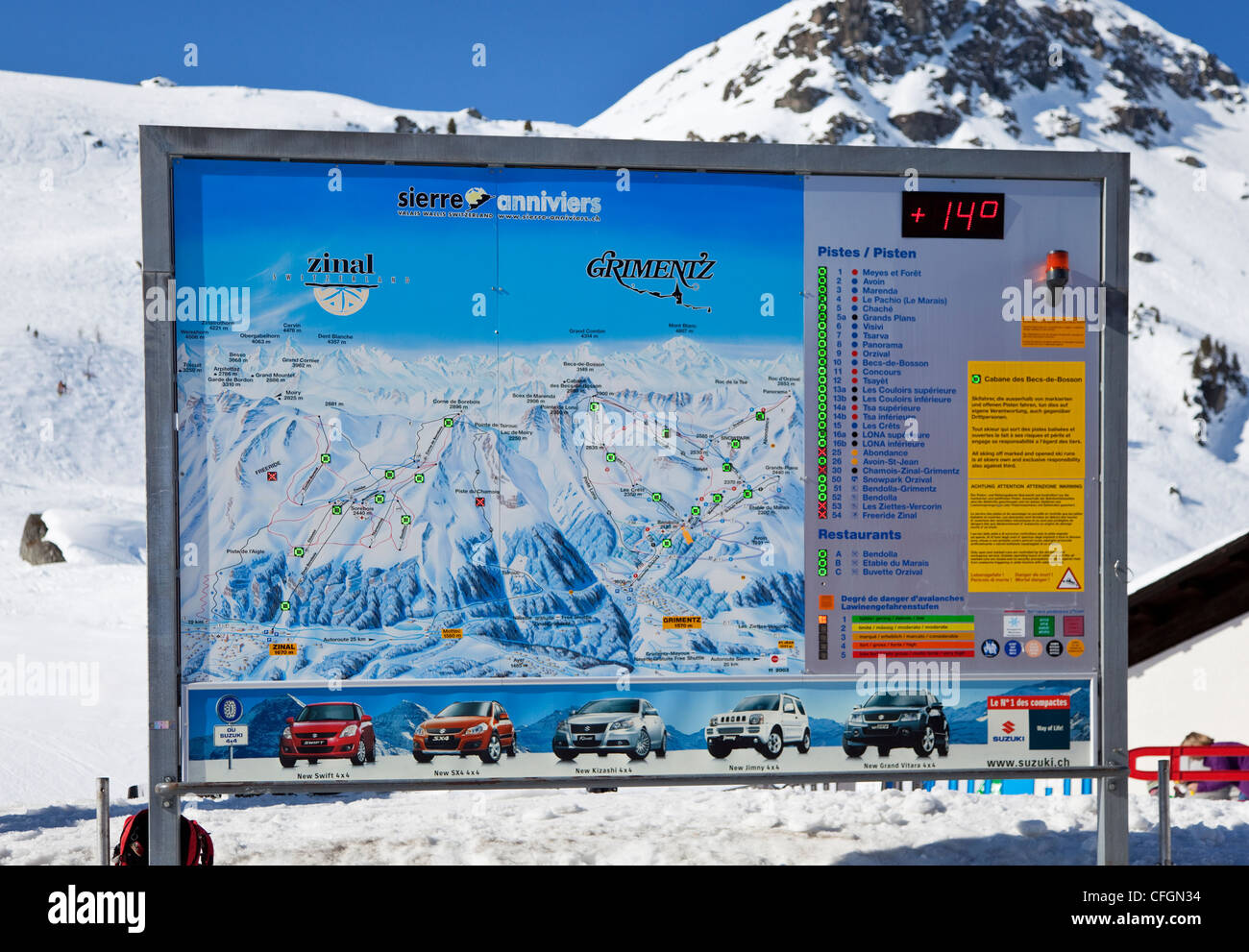 Unusually Warm in The Swiss Alps During Winter - Stock Image