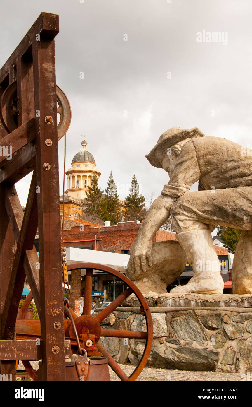 Statue of gold miner in downtown Auburn in Gold Country Northern California USA - Stock Image