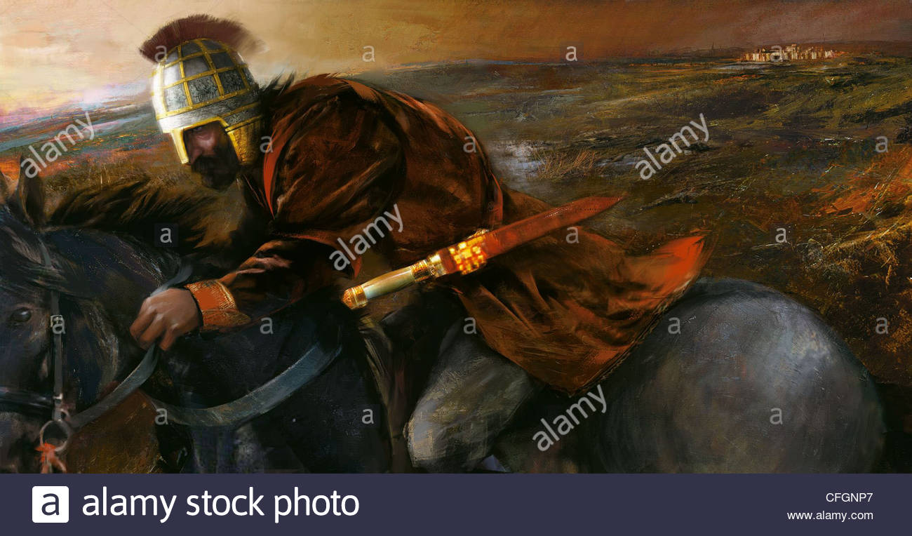 An aristocrat riding to war with flashy helmet and sword. - Stock Image