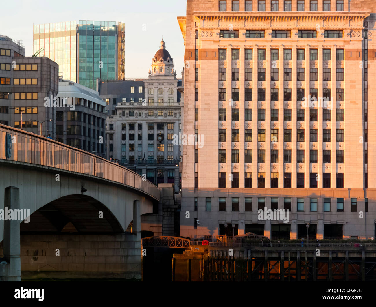 View over London Bridge towards the City of London banking and financial district England UK - Stock Image