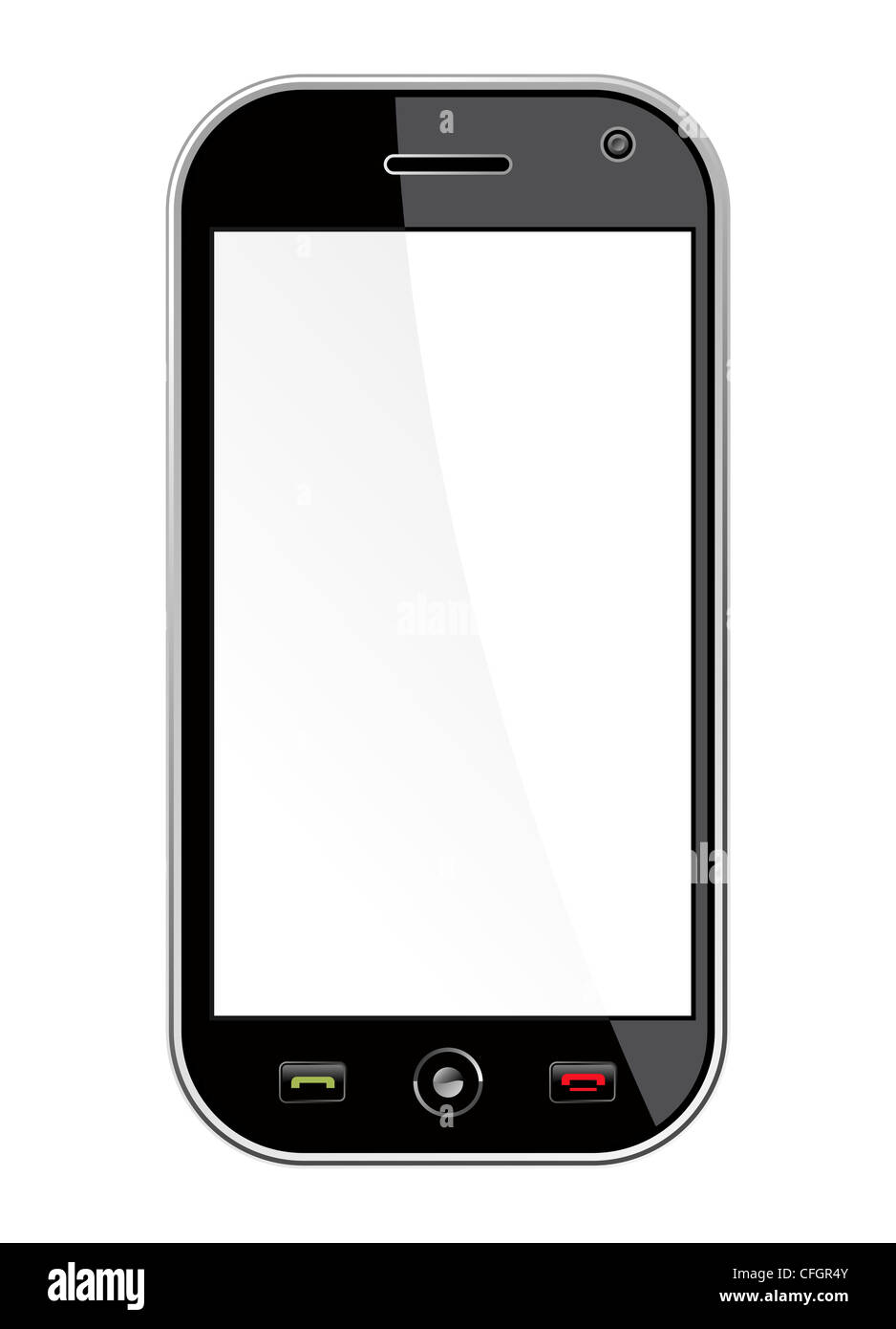 Generic black smartphone isolated over white with blank space for your own design or image. Useful for mobile applications - Stock Image