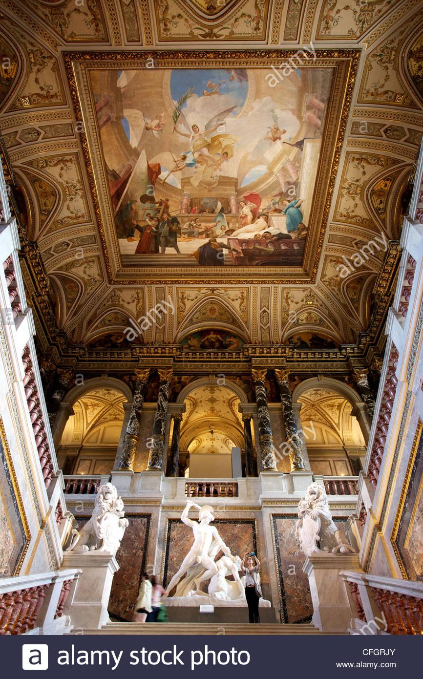 Interior grand stairway of the Art History Museum. Stock Photo