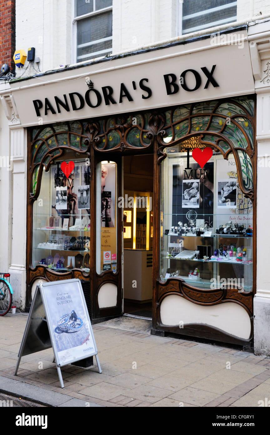 Pandora's Box Jewellery Shop, Market Street, Cambridge, England, UK