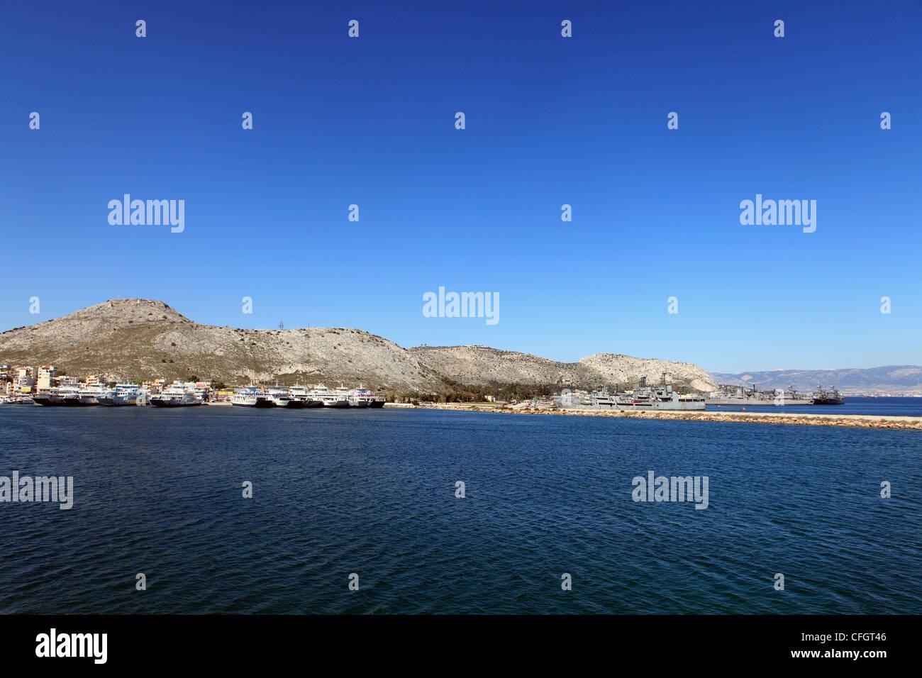 greece saronic islands salamina a view of the port of paloukia and naval base - Stock Image