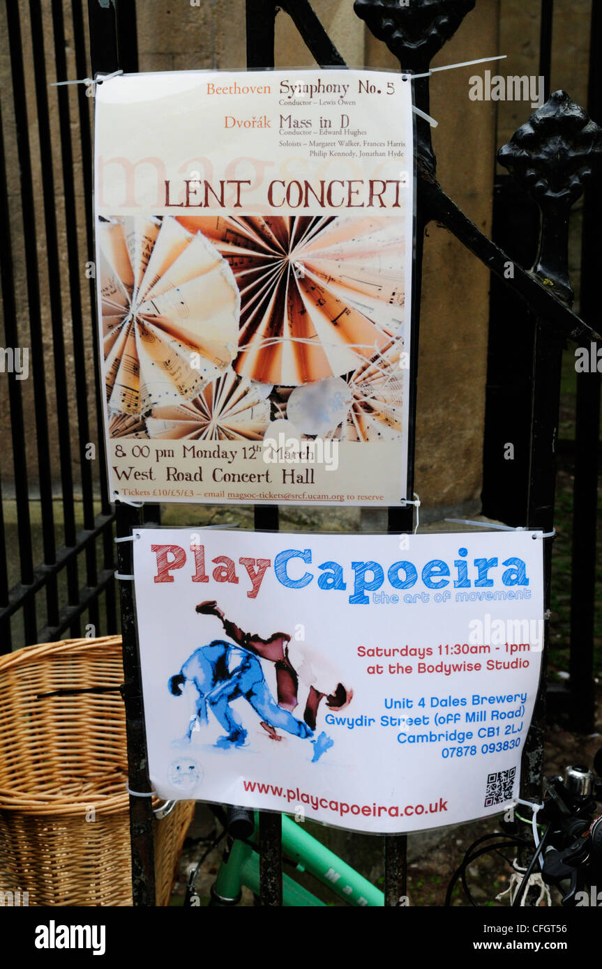 Lent Concert and Play Capoeira Posters, Cambridge, England, UK - Stock Image