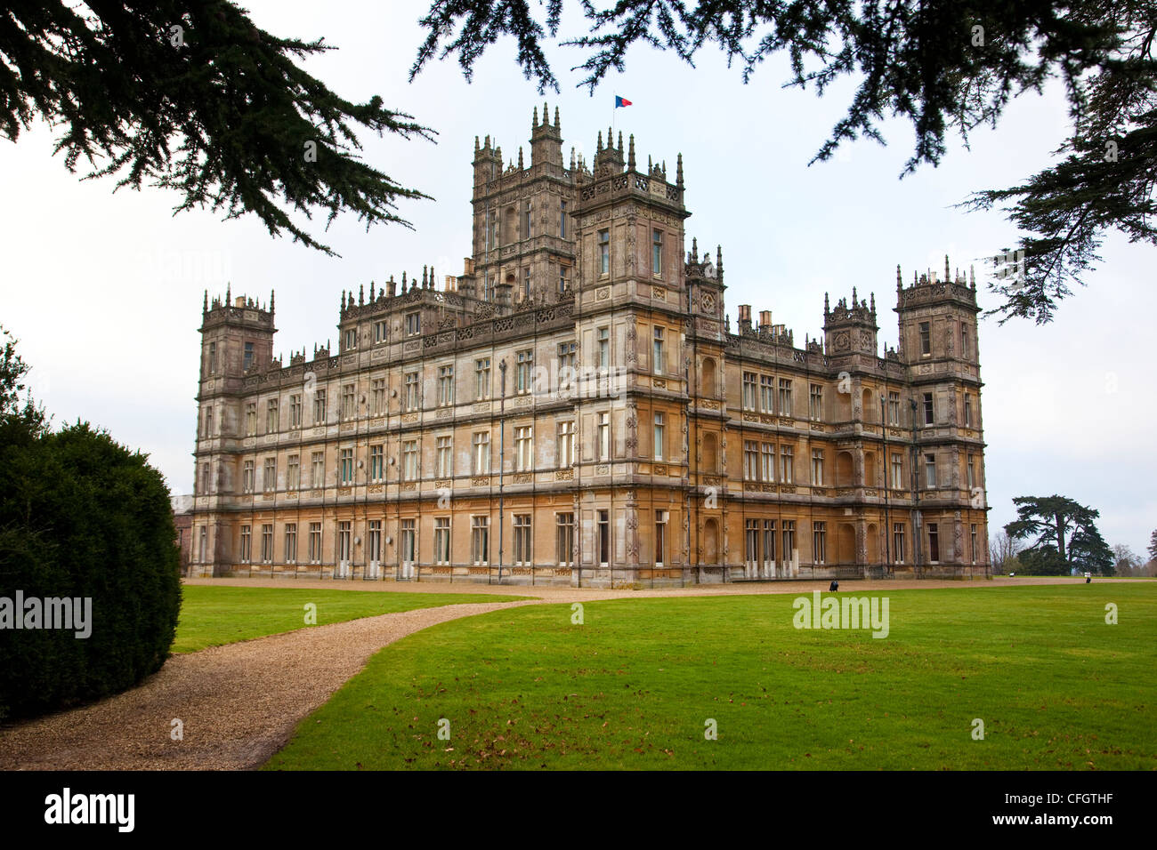Exterior of Highclere Castle, Newbury, Berkshire, England, UK - Stock Image