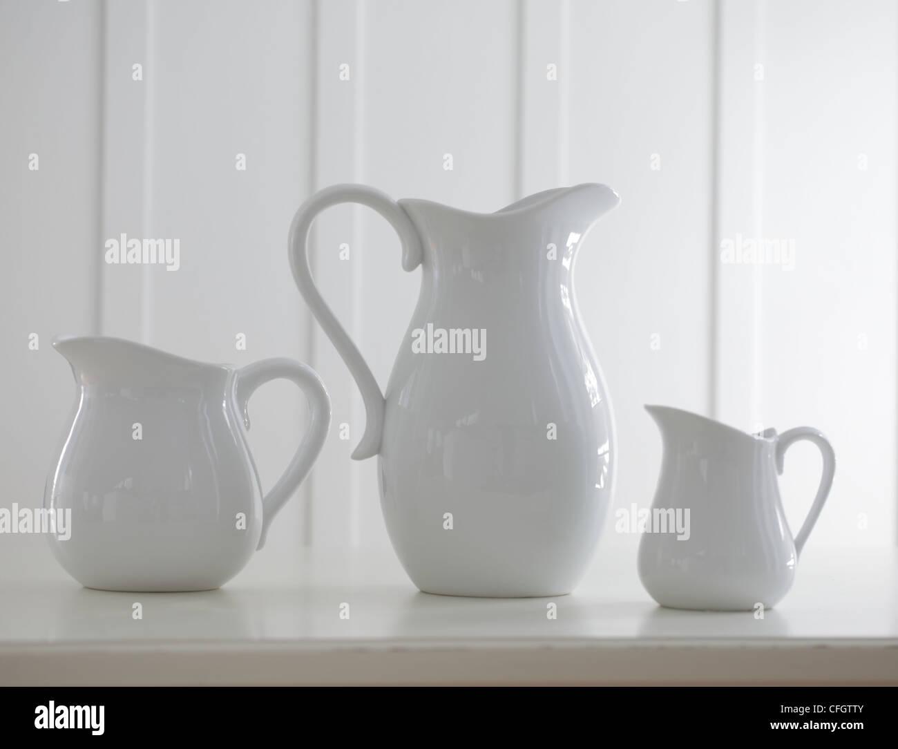 Three Porcelain Vases - Stock Image