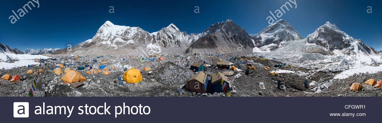 A full 360 degrees panorama of Everest base camp in Nepal - Stock Image