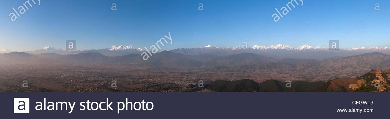 The entire Kathmandu valley and Himalayan range - Stock Image