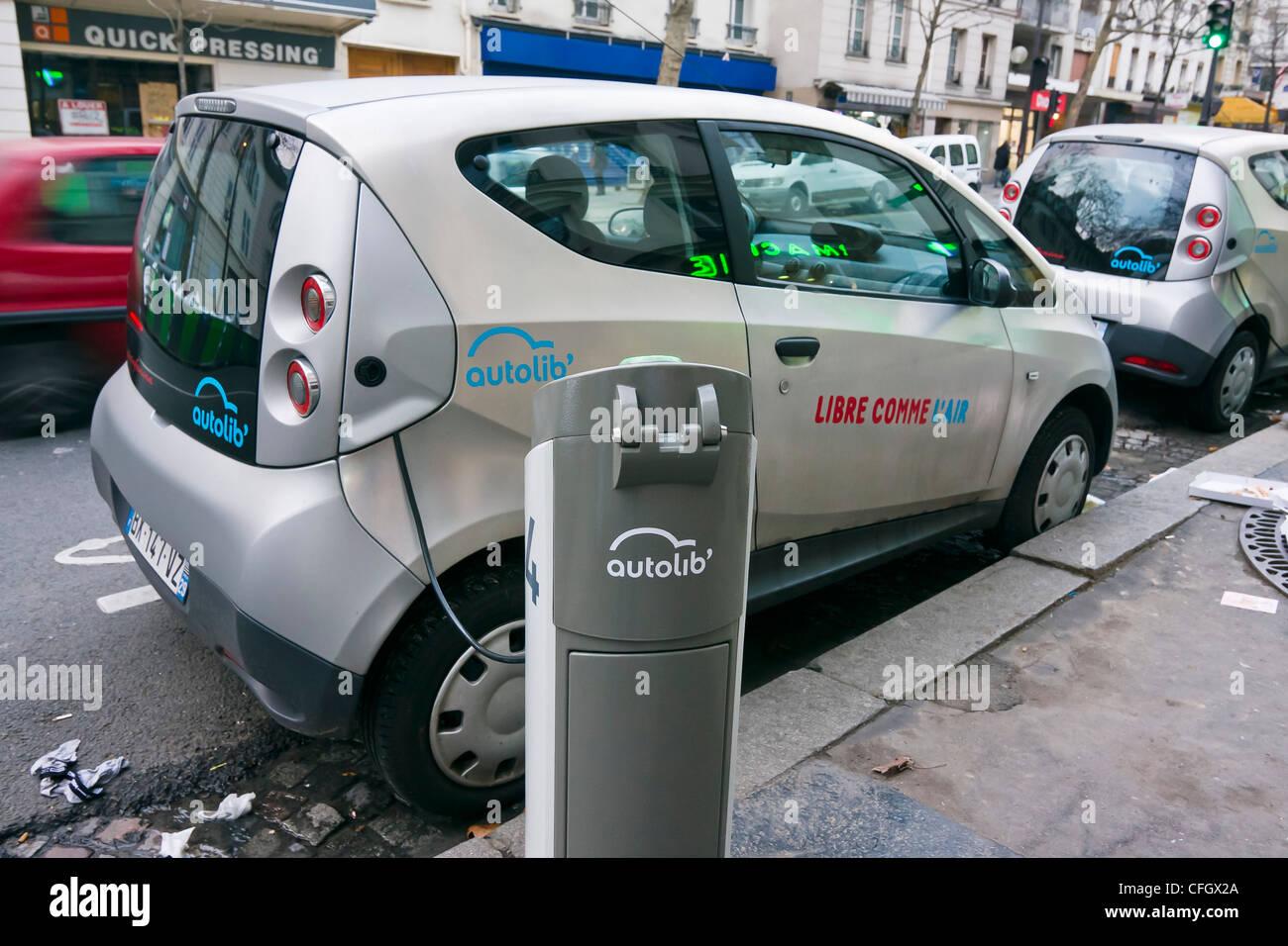 Electric Car Rental >> Autolib Self Service Electric Car Rental Paris France Stock