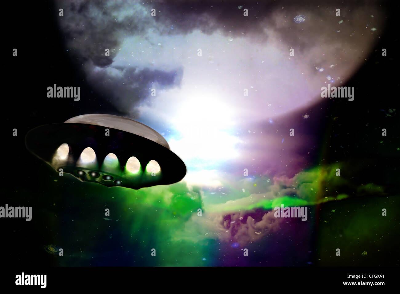 Spaceship traveling through deep space. - Stock Image