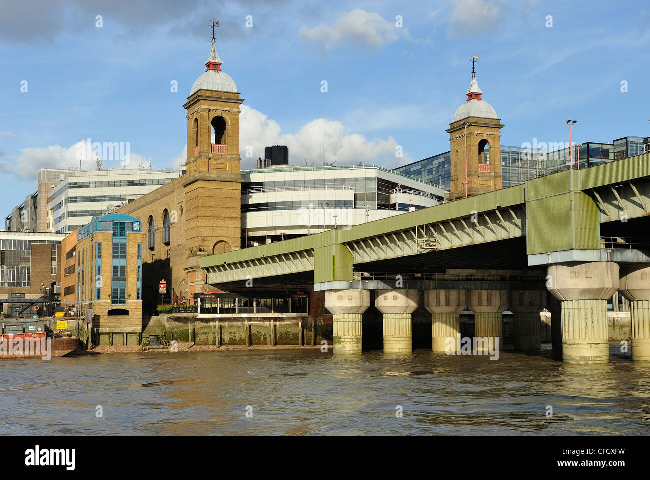 Cannon Street Station River Thames London England UK - Stock Image