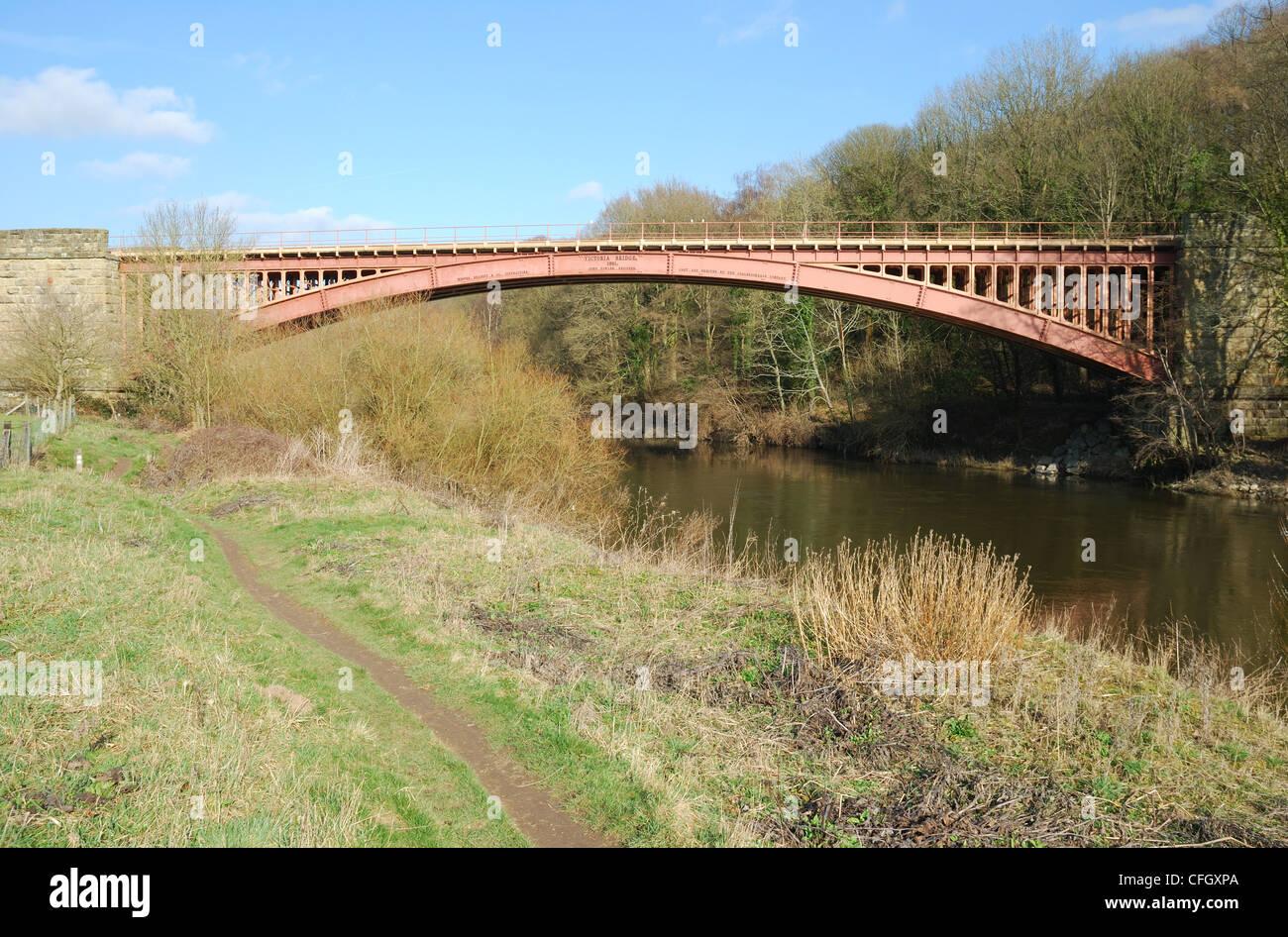 Victoria Bridge over the River Severn, Severn Valley Railway, Upper Arley, Worcestershire, UK Stock Photo