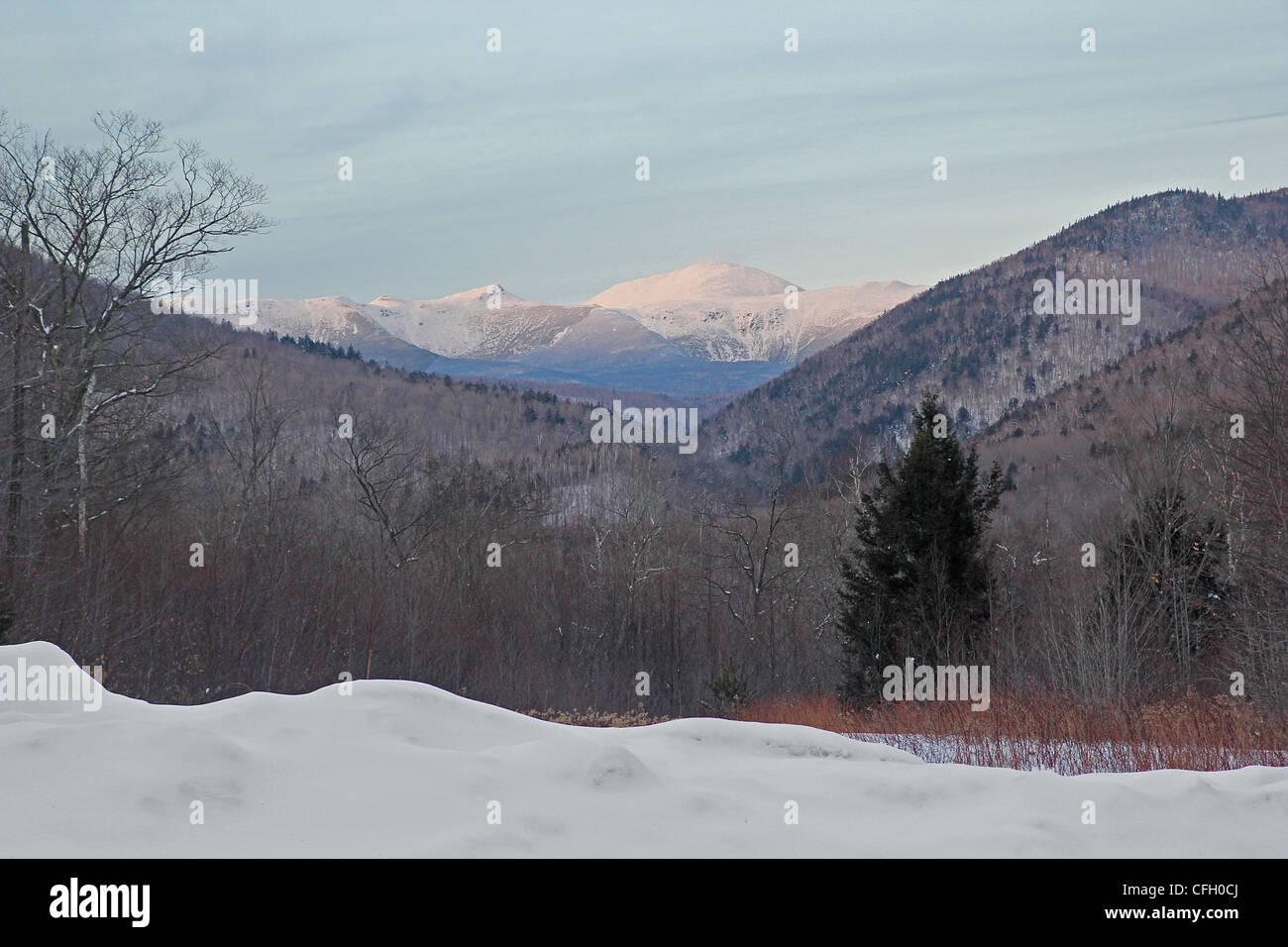 A winter view of the White Mountains from Crawford Notch State Park, New Hampshire Stock Photo