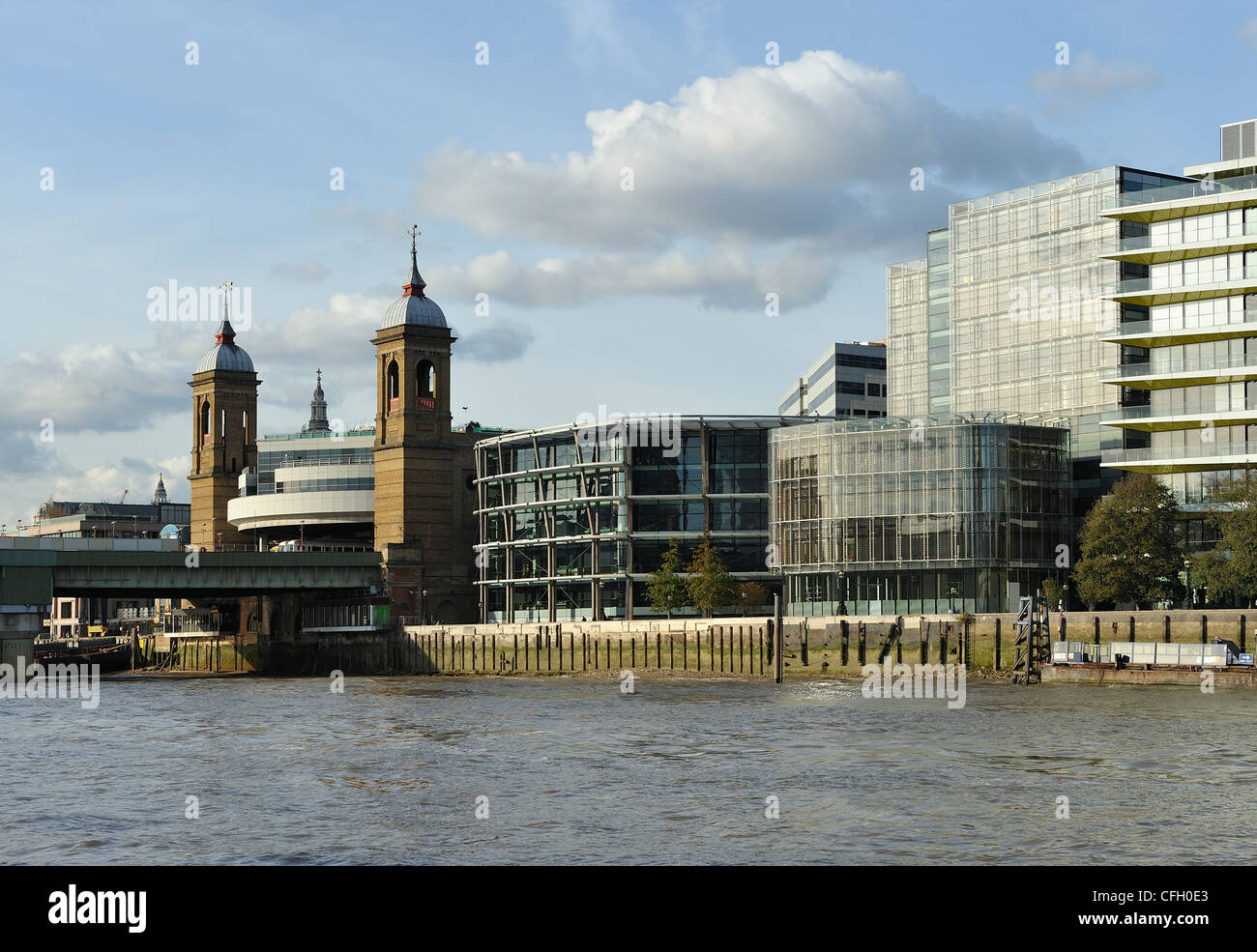 City of London Cannon Street Station River Thames London England UK - Stock Image