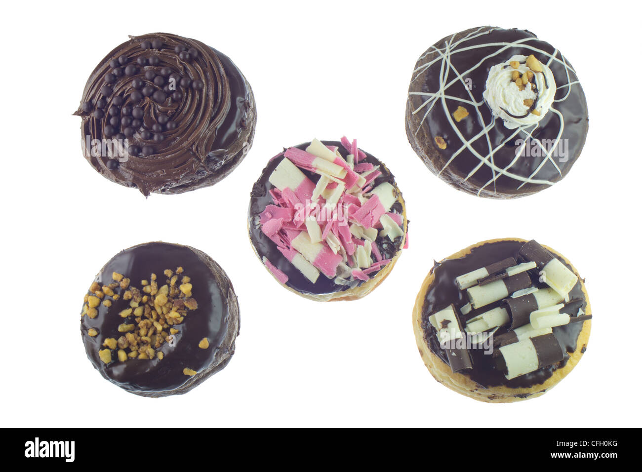 Donut variation isolated on white background. - Stock Image