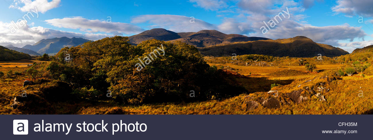 Macgillycudy's Reeks from the Upper Loughs in Killarney, County Kerry. - Stock Image