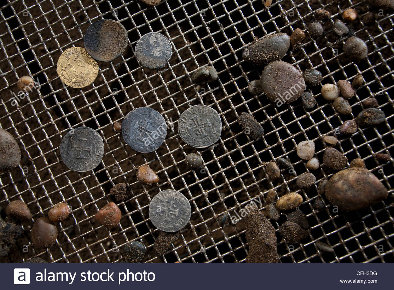 Spanish, Portuguese, Venetian, Florentine, and Moorish coins found in the ship's coffers. - Stock Image