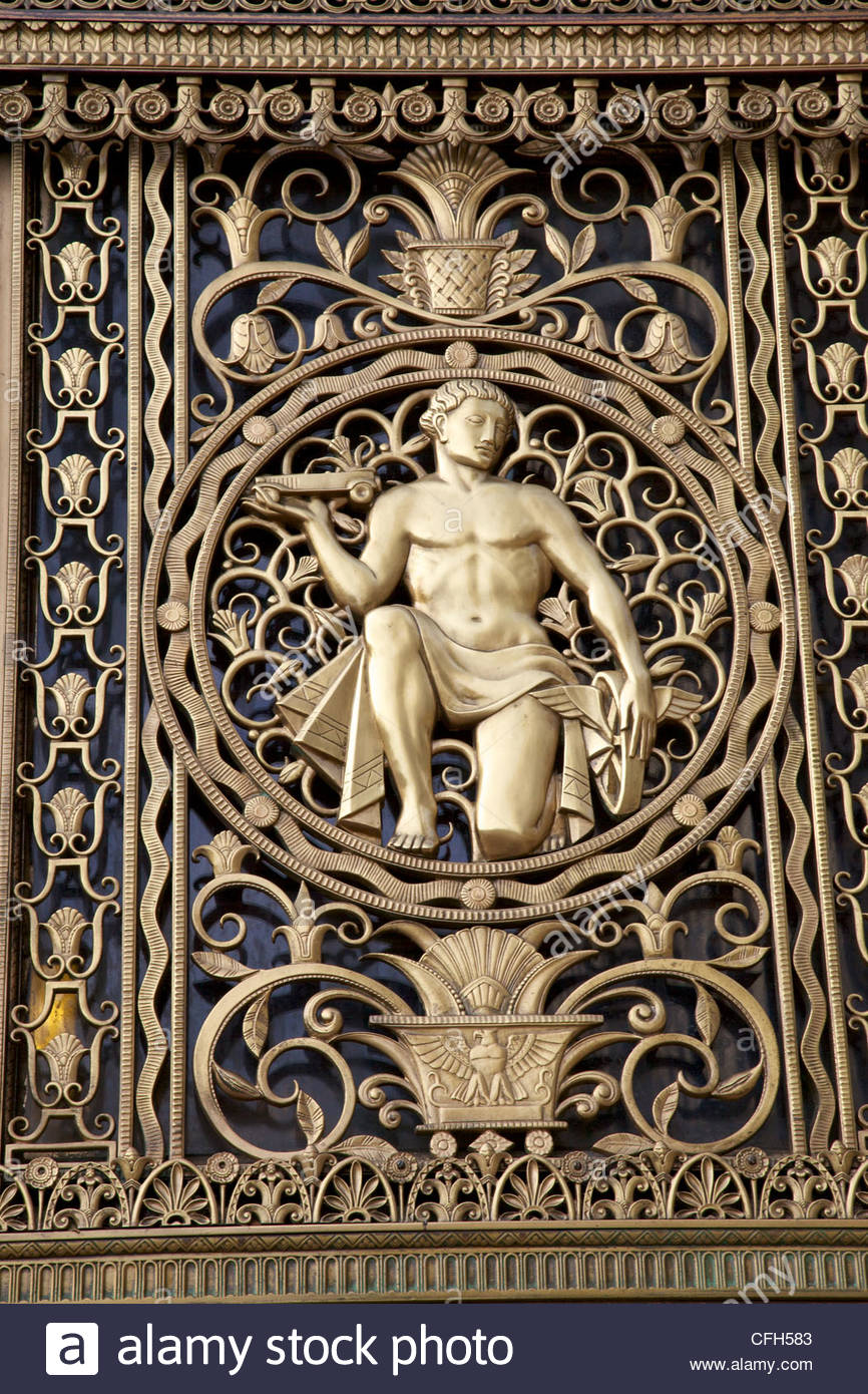 A gilt figure on the Art Deco style Fisher building. - Stock Image