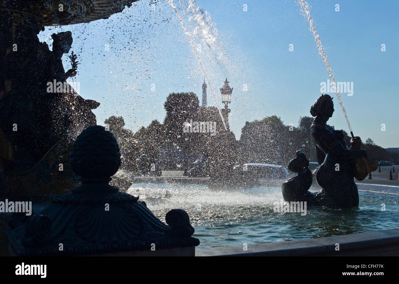 France, Île-de-France, Paris, Place de la Concorde, fountain - Stock Image