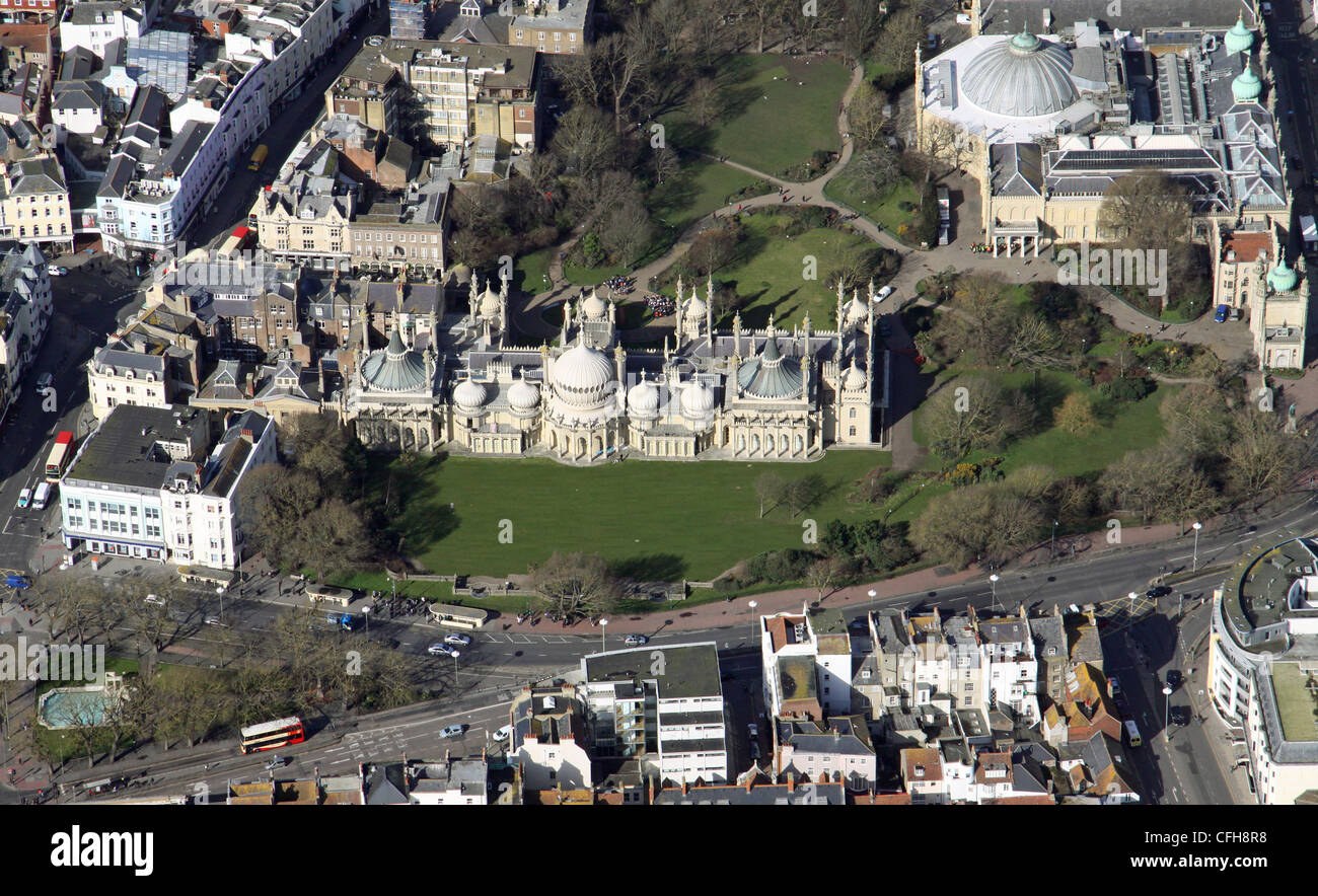 Aerial view of The Royal Pavilion Brighton - Stock Image
