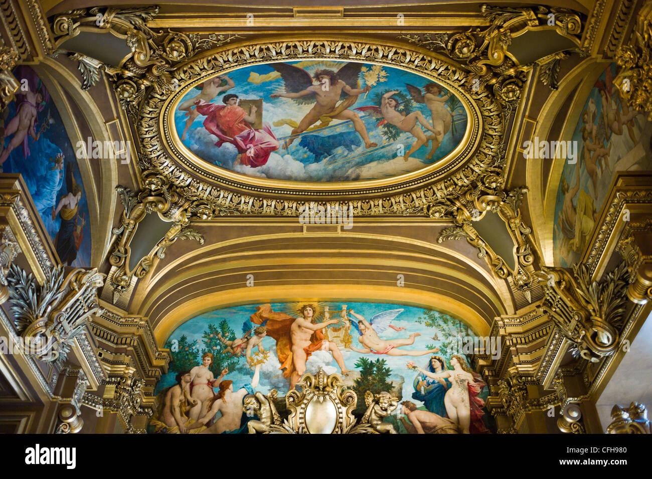 France, Paris, Opéra Palais Garnier, the ceiling - Stock Image