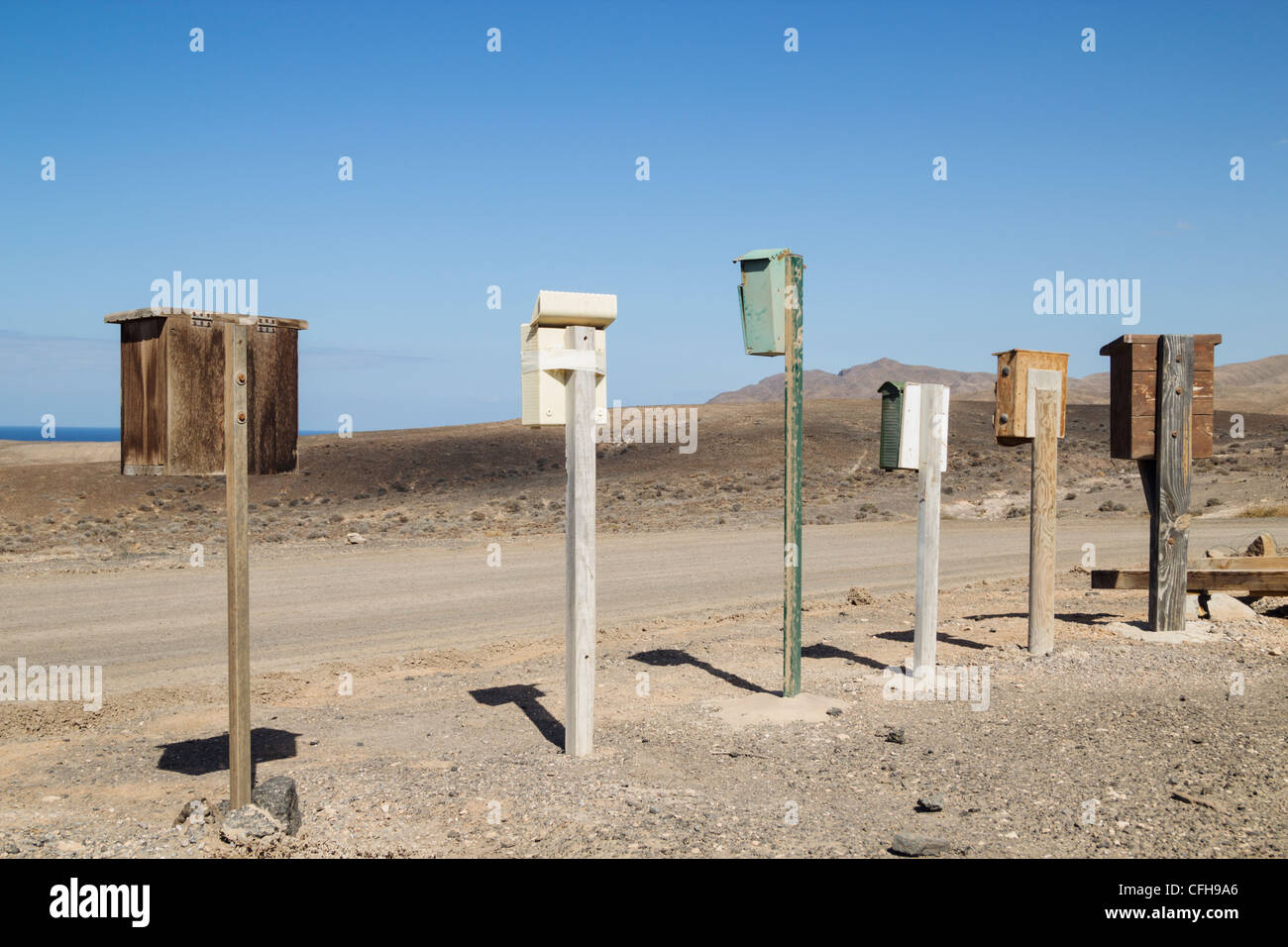 Mailboxes on west coast of Fuerteventura, Canary Islands, Spain - Stock Image