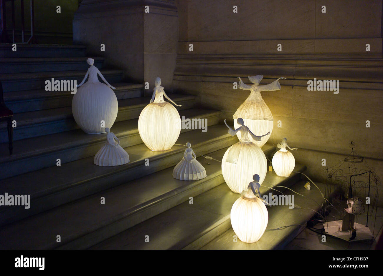 France, Paris, Opéra Palais Garnier, lamps on the steps of the staircase - Stock Image