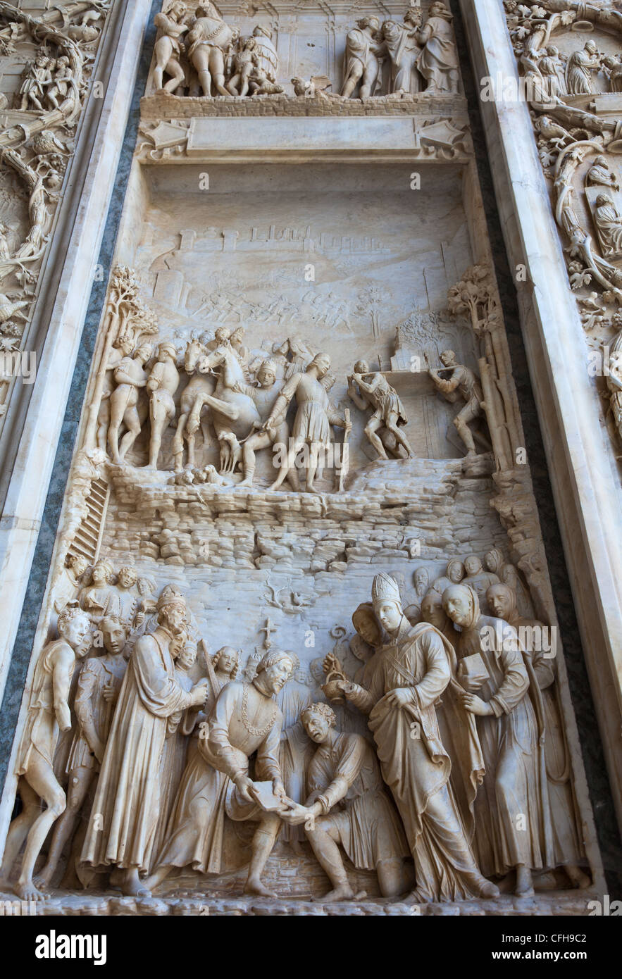 Italy, Lombardy, Pavia, the Certosa di Pavia, detail of the facade - Stock Image