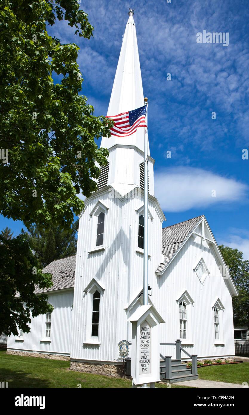 USA, Illinois, Dwight, Carpenter gothic church Route 66 - Stock Image