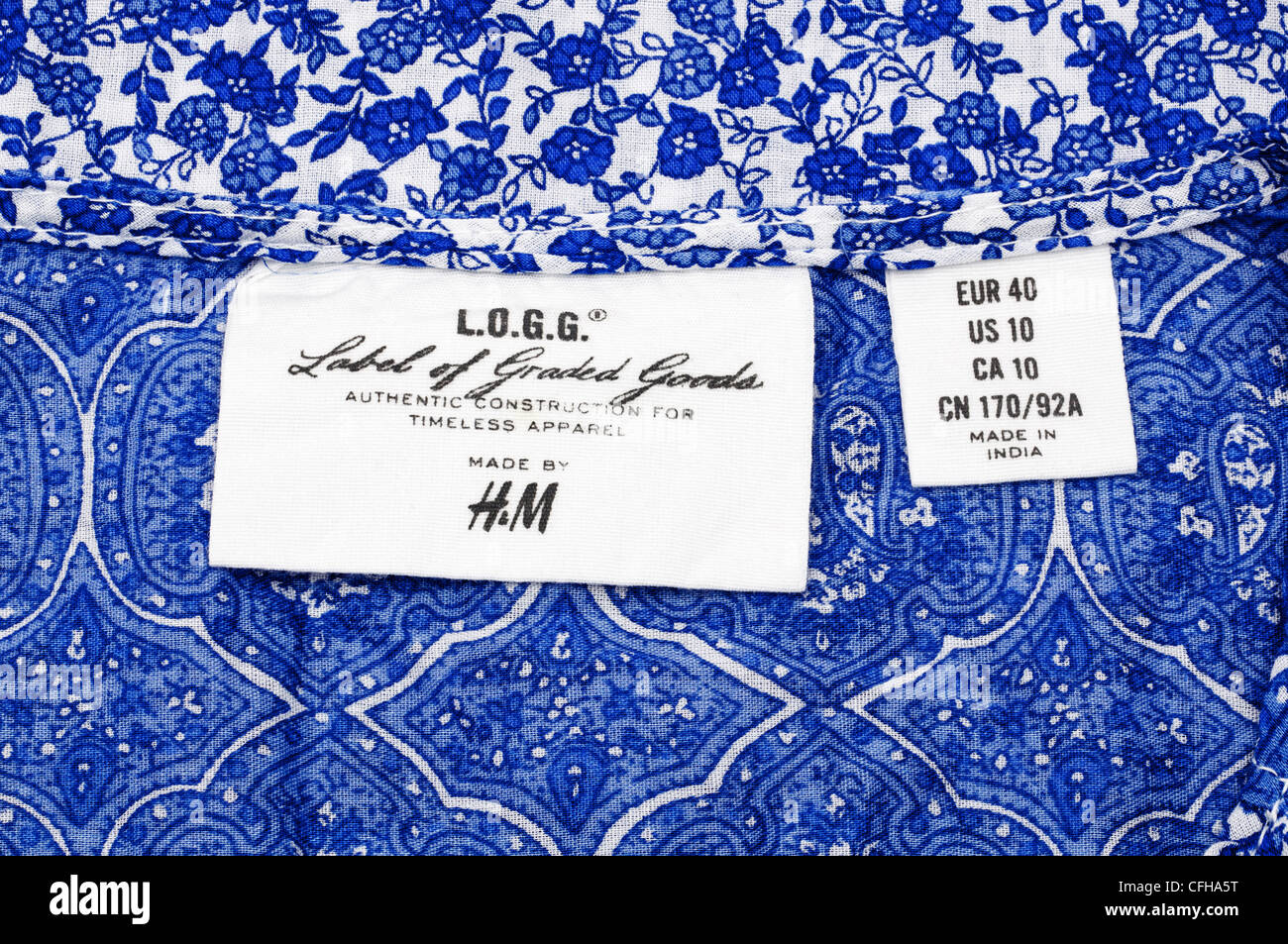 Label on H&M womens top - Stock Image