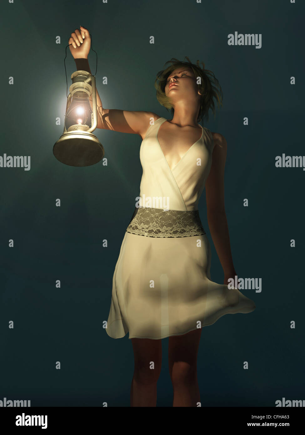 woman with a lantern wandering in the dark - Stock Image