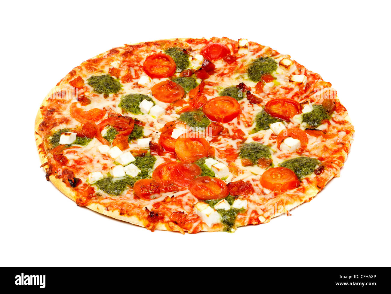 Cheese and tomato pizza on white background - Stock Image
