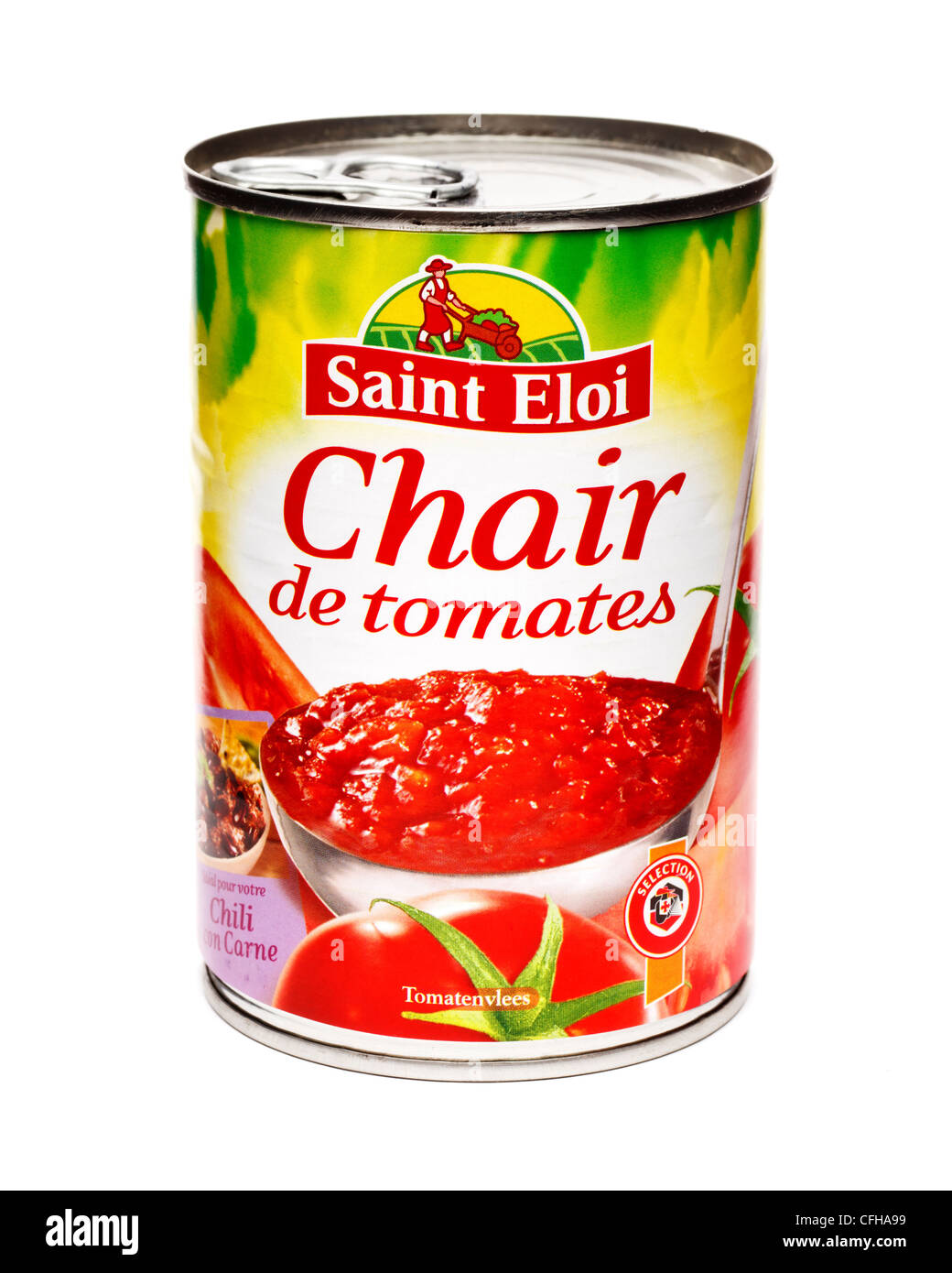 French tin of chopped tomatoes - Stock Image